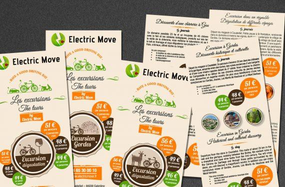 Vue générale des prospectus concernant les balades proposées par Electric Move