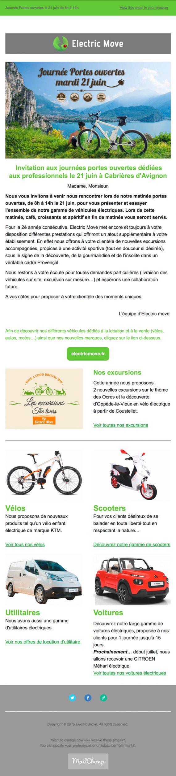 newsletter réalisée par nicolascrechet.com pour la journée portes ouvertes d'electric move le 21 juin 2016