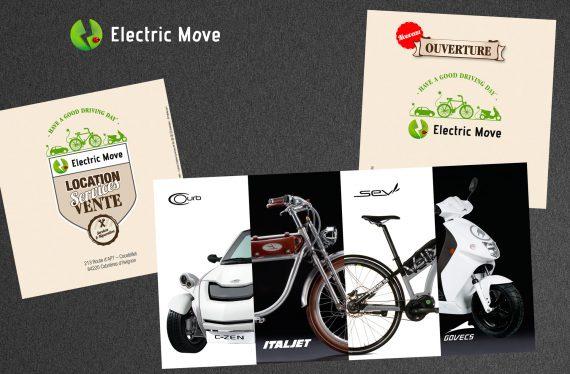 Vue d'ensemble du dépliant réalisé par nicolascrechet.com pour l'ouverture d'electric Move