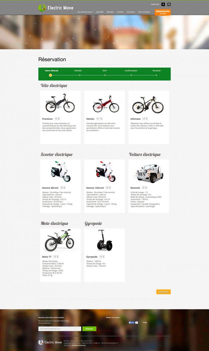 application de réservation du site internet d'electric move