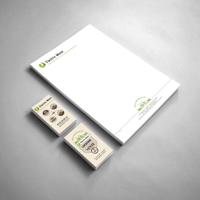 Vue générale de la lettre entête et des cartes de visite réalisées par nicolascrechet.com pour electricmove