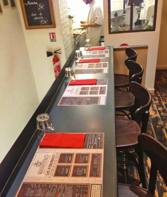 Photo rendus de la création des menus pour la pizzeria quattro