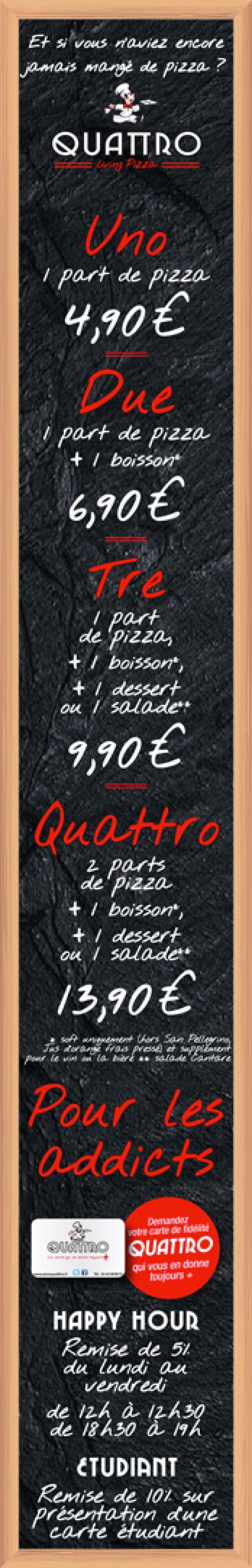 Panneau colonne extérieur pour la pizzeria Quattro