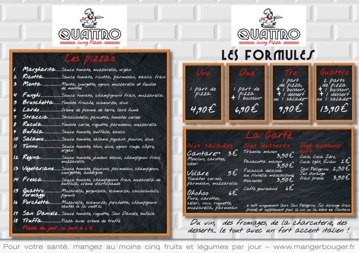 dépliant A4 pour la pizzeria quattro