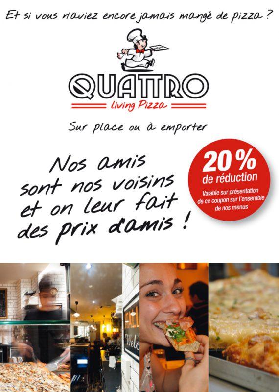 dépliant promotionnelle pour la pizzeria quattro