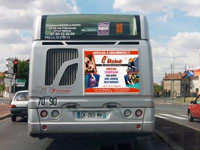 Cul de bus publicité L'Uzine à Coulommiers