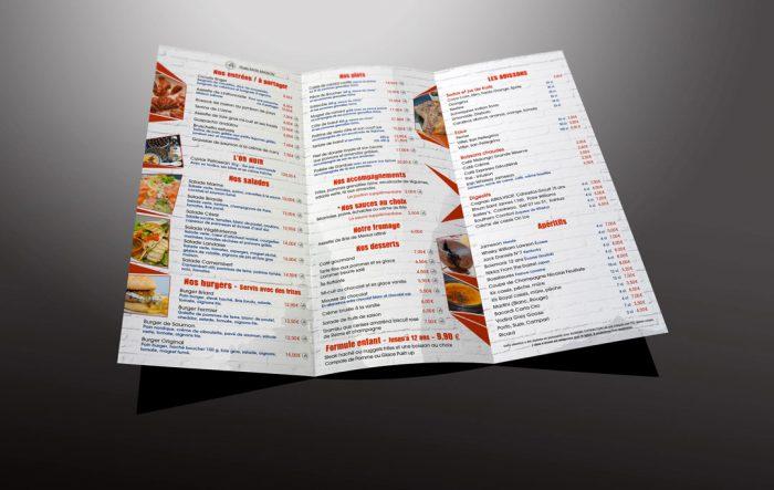 Carte du menu du restaurant de l'Uzine à Coulommiers