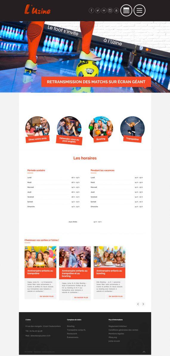 Page d'accueil du site internet l'Uzine