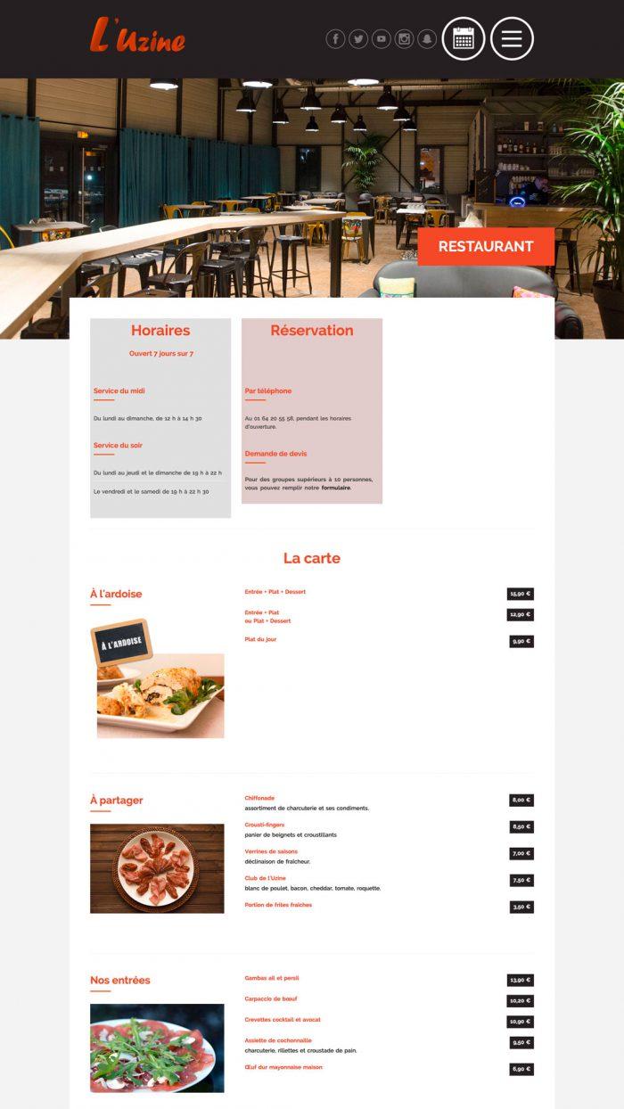 Page restaurant du site internet l'Uzine