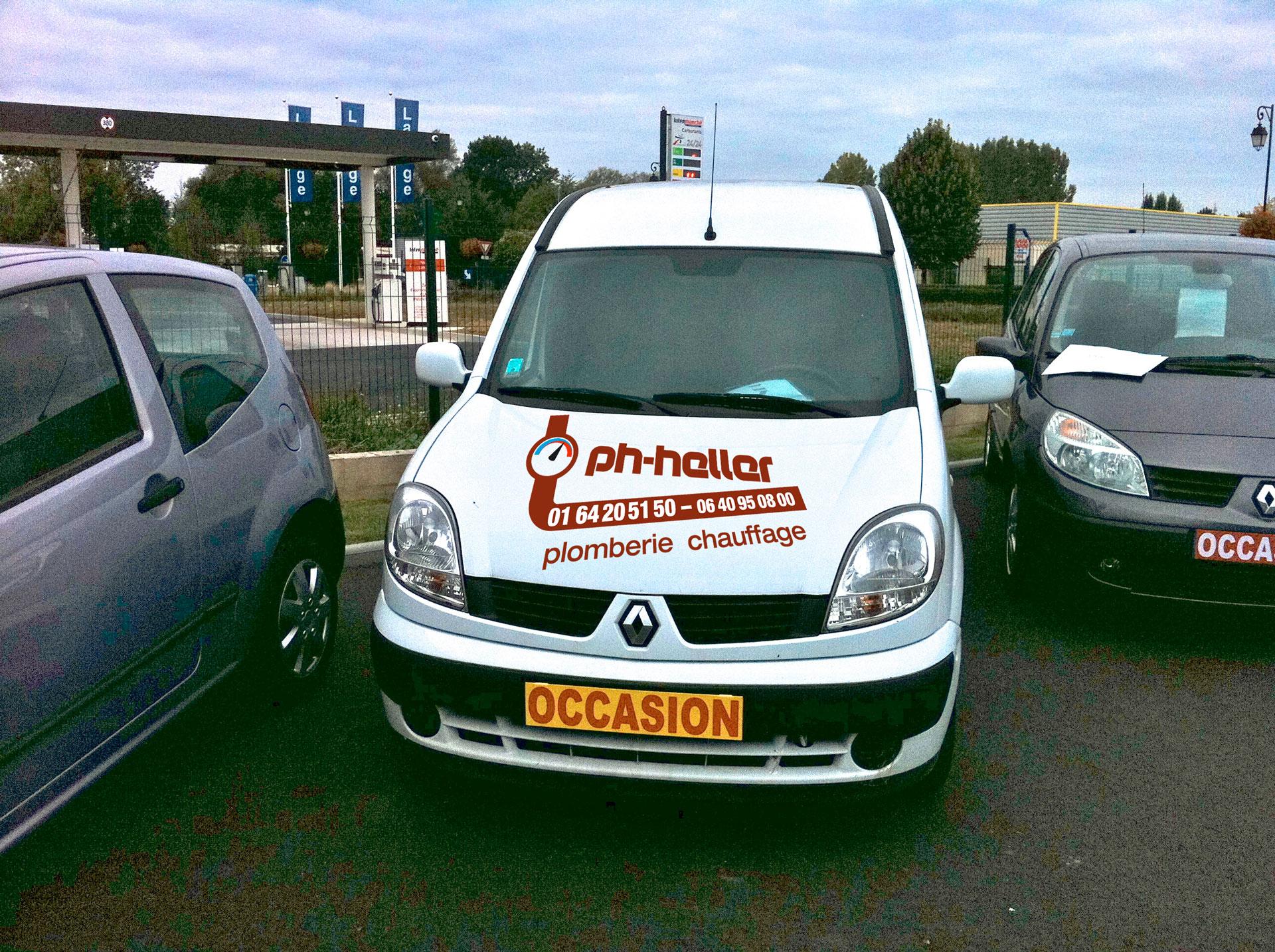 Marquage véhicule utilitaire de la société Ph-Heller face avant