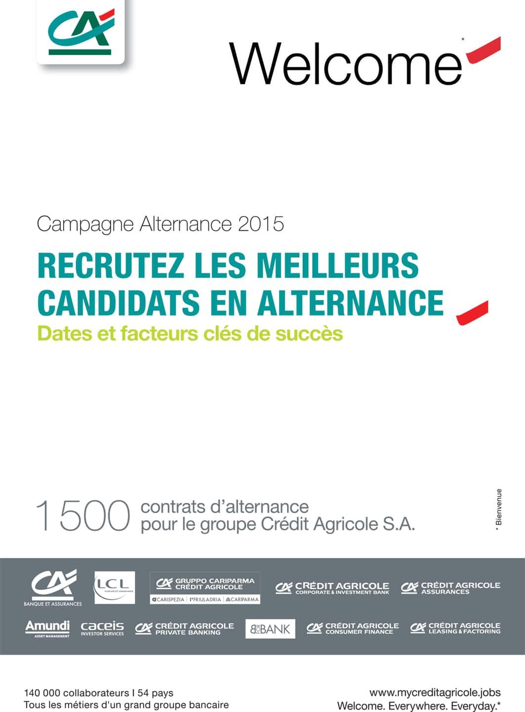 brochure du guide d'alternance 2015 réalisée pour le compte des ressources humaines du Groupe du Crédit Agricole-couv