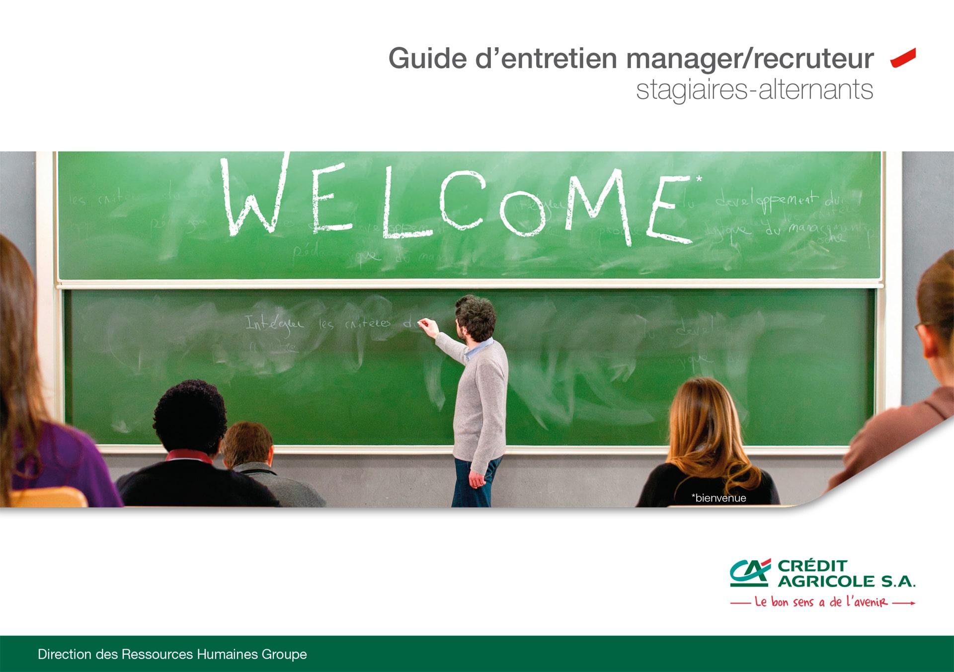 brochure du guide 2014 du manager-recruteur réalisée pour le compte des ressources humaines du Groupe du Crédit Agricole-COUVERTURE