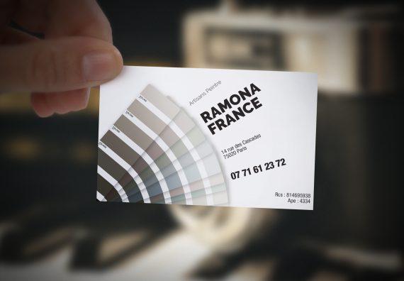 Création de la carte de visite pour un artisan peintre, Ramona France