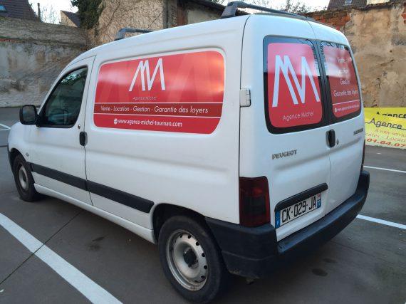 Marquage véhicule pour l'agence Michel flanc + arrière