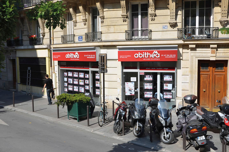 Création et pose d'une enseigne pour l'agence immobilière abithéa a Paris