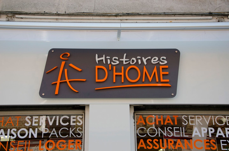 Création et pose de la nouvelle enseigne d'Histoire d'Home à saint germain. Logo