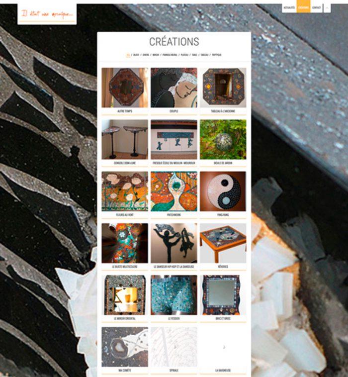 Page créations du site internet iletaitunemosaique.com