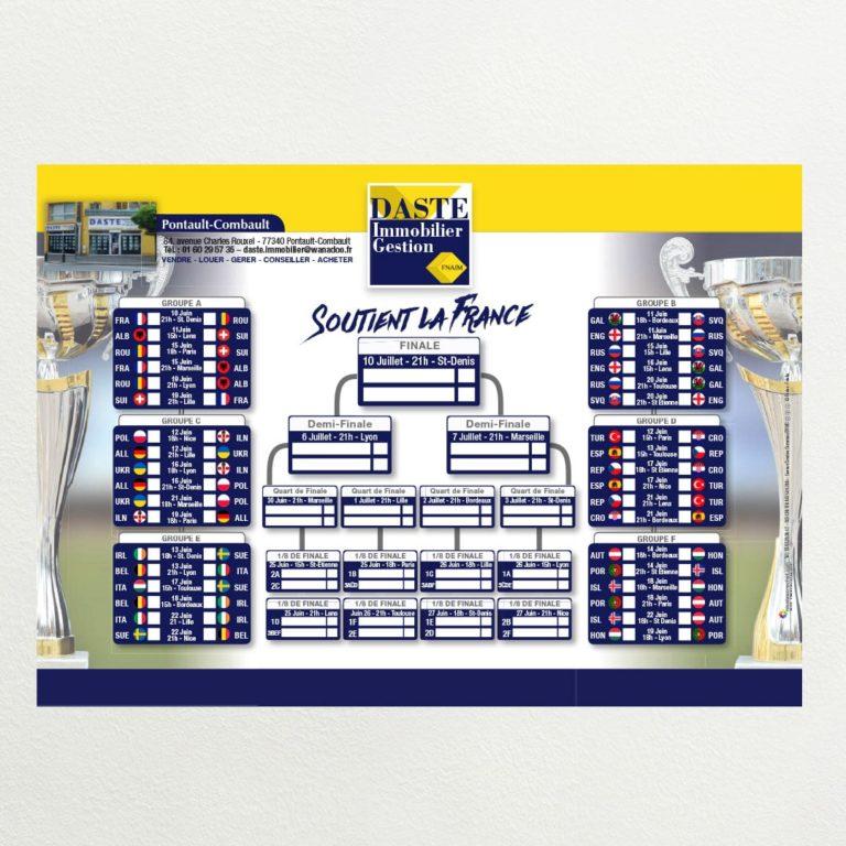 calendrier évènementiel euro 2016 pour Daste immobilier