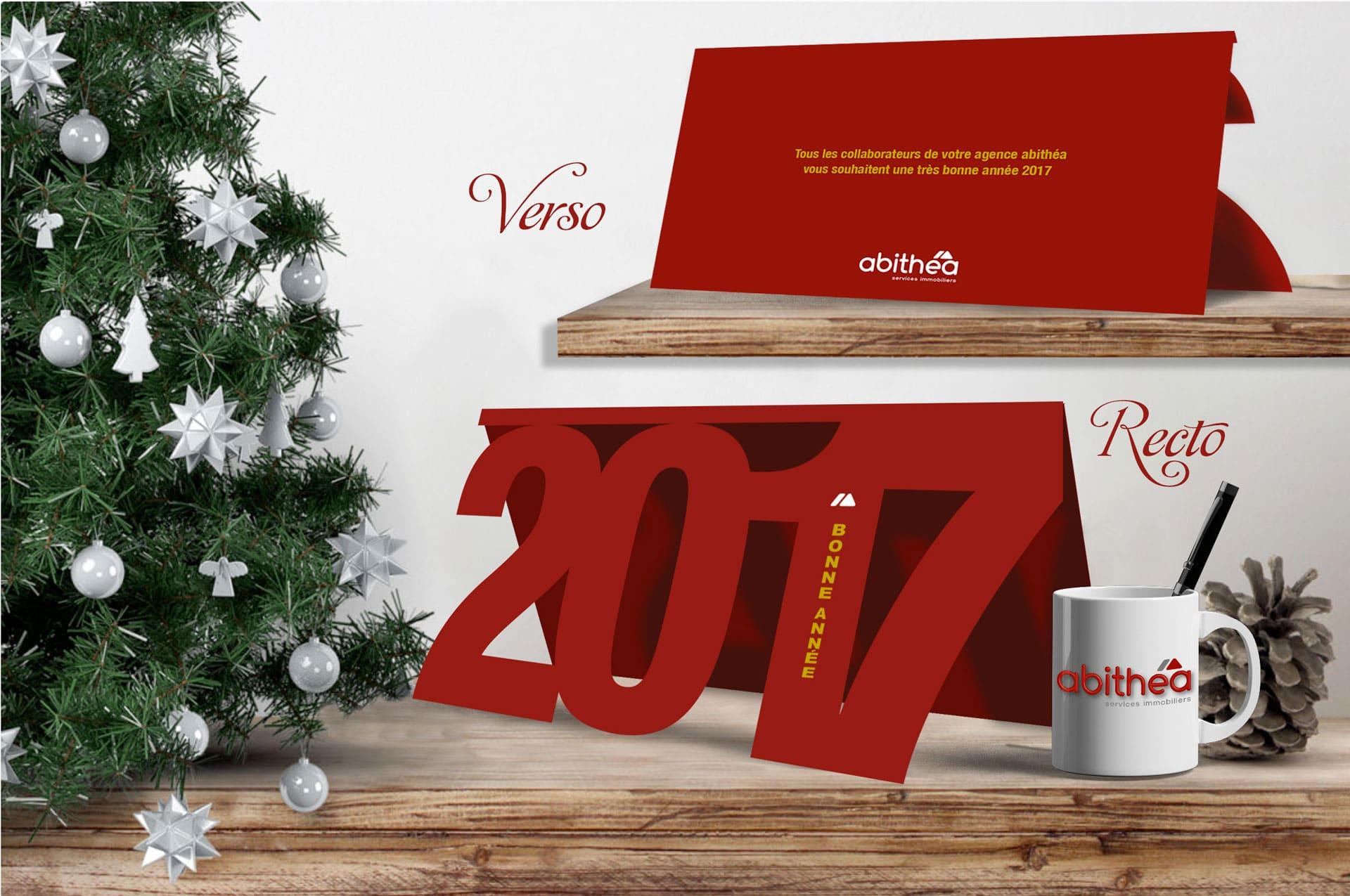 Carte de vœux 2017 personnalisée pour abithéa.fr