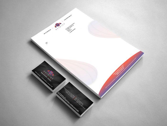 Identité du groupe ovidius avec carte de visite, lettre en tête et logo