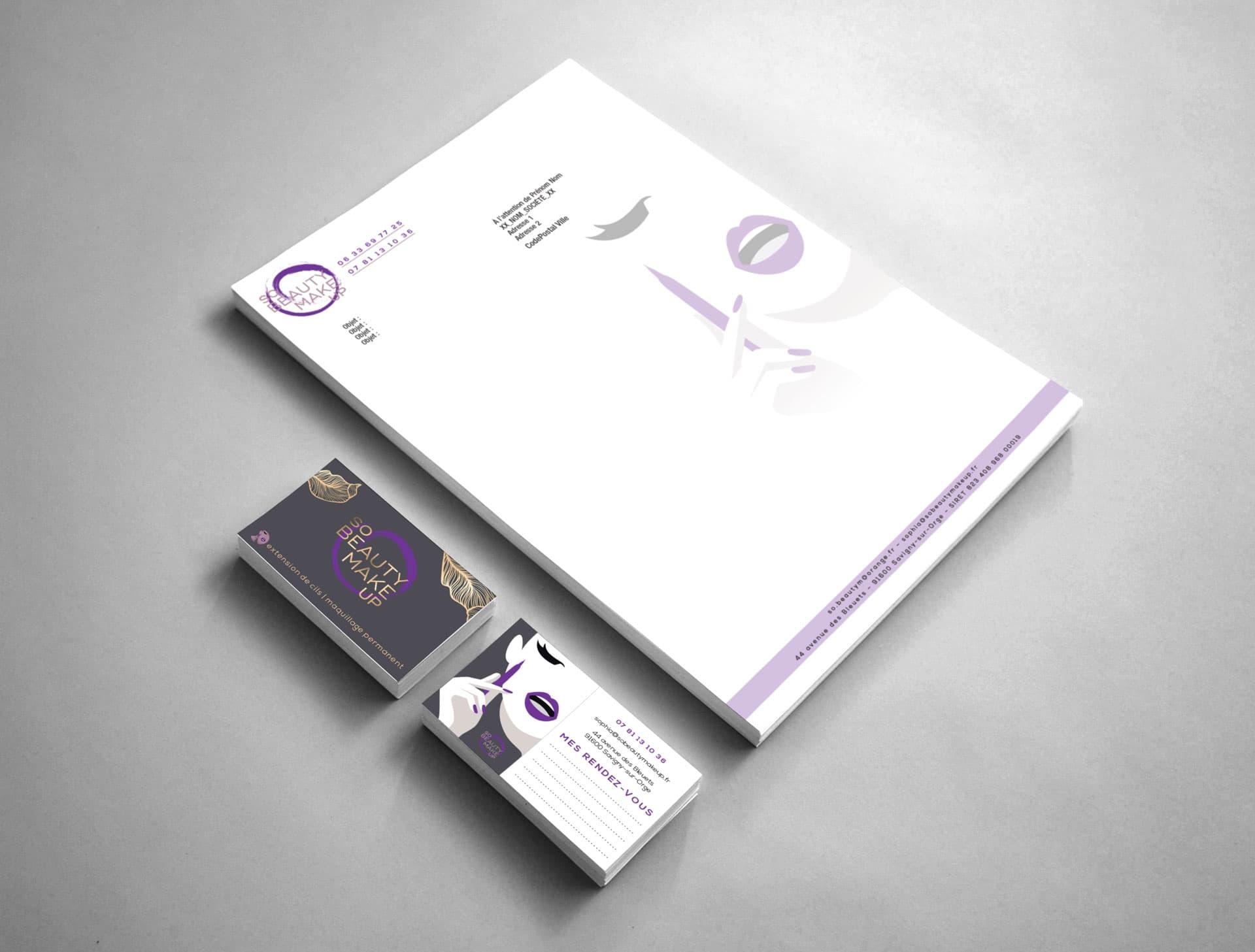Identité du So Beauty Make up avec carte de visite, lettre en tête et logo