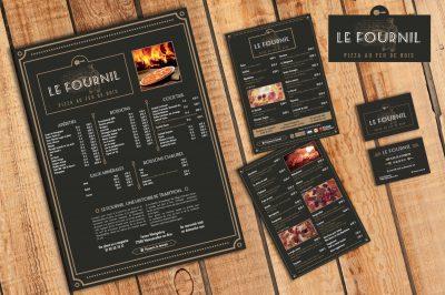 Menus, flyers, carte de visite du restaurant pizzeria le fournil