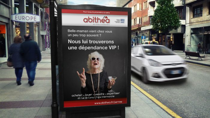 Visuel belle-maman pour abithéa Yerres - affiche sucette - format 120 x 176 cm