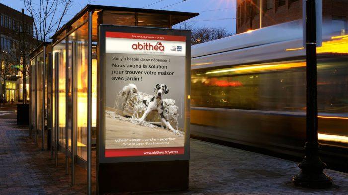 Visuel chien pour abithéa Yerres - affiche sucette - format 120 x 176 cm