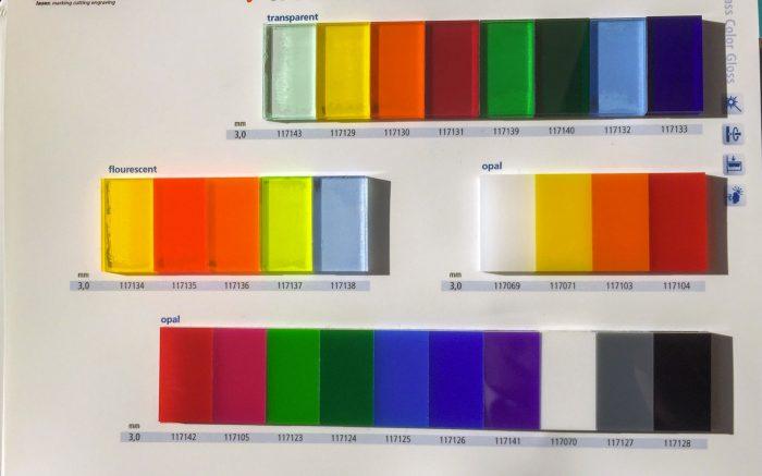Les variantes de couleur et de transparence du nuancier PVC