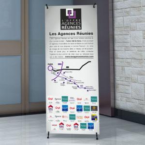 Mise en situation du X-banner au format 70 x 160 cm pour Les Agences Réunies