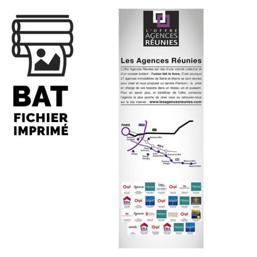Pictogramme du Bon à tirer et maquette imprimée de l'affiche au format 42 x 118,9 cm pour Les Agences Réunies