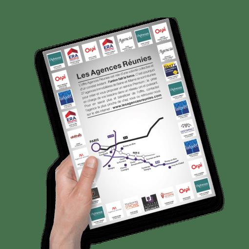 Mise en situation du flyer au format A4 pour Les Agences Réunies