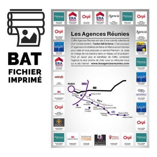 Pictogramme du Bon à tirer et maquette imprimée du flyer pour Les Agences Réunies