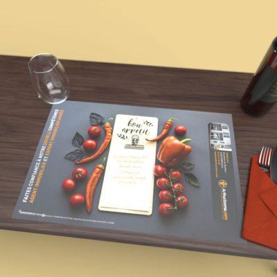 Mise en situation numérique du Mise en situation pour le modèle Ingrédients du set de table pour la franchise Arthurimmo. Choisissez le modèle, sa version, nous personnaliserons votre support de communication.