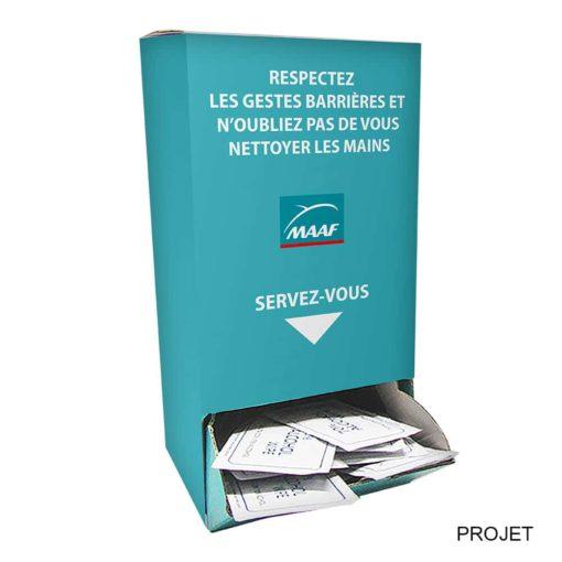Distributeur de180 lingettes avec étui personnalisé et boite personnalisée imprimée et distribué par nicolascrechet.com pour lutter contre le coronavirus-covid19
