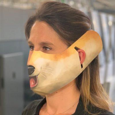 Masque en papier visuel animal renard distribué par nicolascrechet.com pour lutter contre le coronavirus-covid19