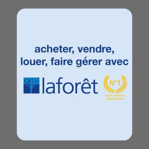Mise en page du verso du modèle 01, verso 01, du désodorisant voiture proposé pour la franchise Laforêt. Acheter, vendre, faire gérer.